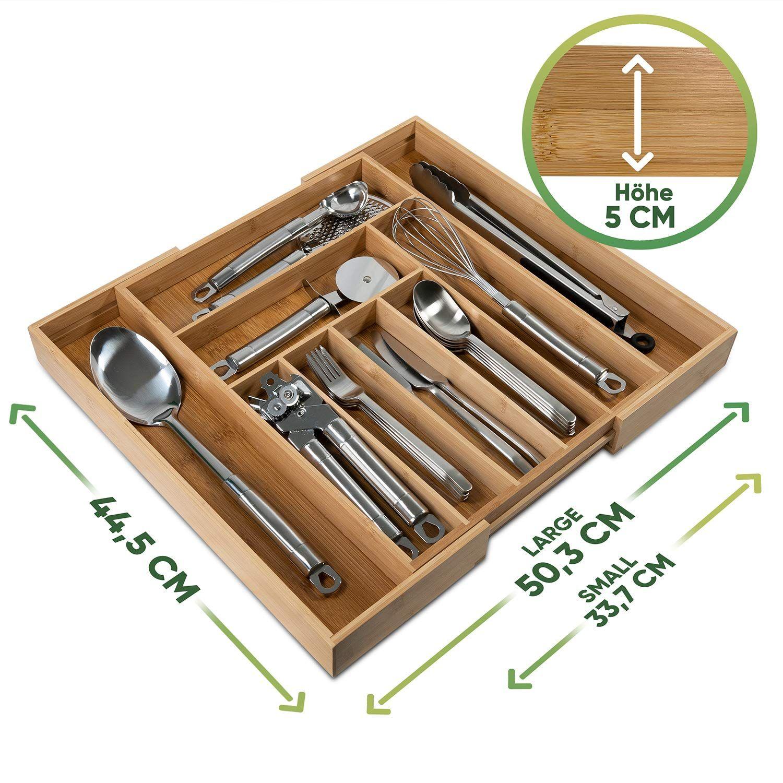 Loco Bird Bandeja De Cubiertos Para Cajon De Bambú Hasta 9 Compartimentos Bandeja Para Cubiertos útil Para La Cuberteros Organizador De Cubiertos De Madera