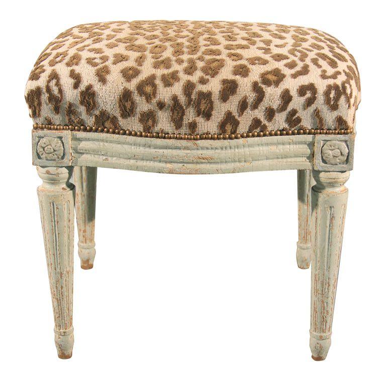 Sensational Swedish Louis Xvi Painted Tabouret Leopard Animal Print Cjindustries Chair Design For Home Cjindustriesco