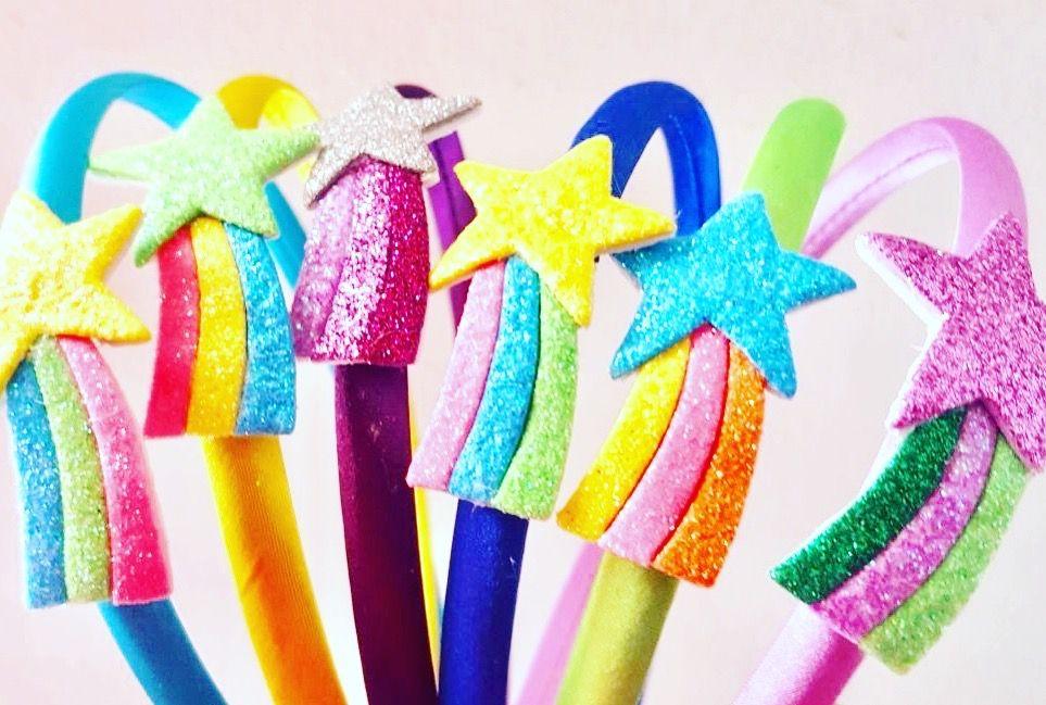 Le Ragazze FATTO a MANO 4 bambino//neonato Small Rosa /& Arcobaleno Glitter per Capelli Bow Clip