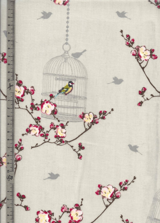 toile cir e cr me motif cage aux oiseaux pommiers en fleurs au printemps autres home d co par. Black Bedroom Furniture Sets. Home Design Ideas