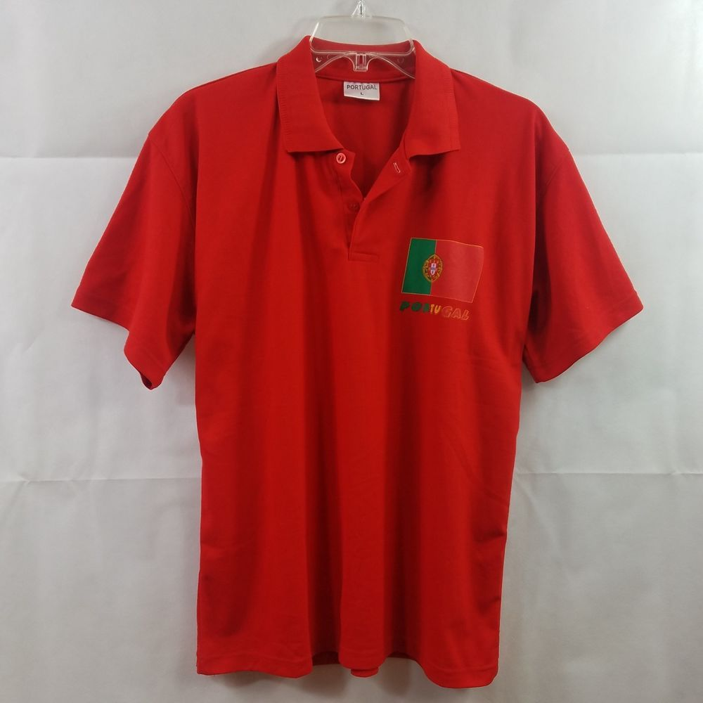 c1ac20e3 Portugal Shirt Polo Orange Flag Print Casual Soccer World Cup S/S Mens Size  L