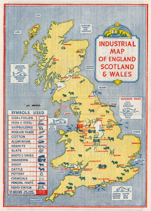 Map Of England To Colour.Michaelmoonsbookshop Vintage Colour Industrial Map Of England