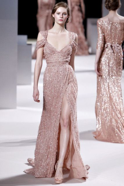 elie saab- love the nude/blush and neckline. If I could even afford this dress Id ask Elie himself to remove the shoulder draping.