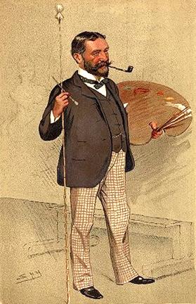"Vanity Fair Caricature of Samuel Luke Fildes (1843-1927), Artist. Caption - ""He painted 'the Doctor'""."