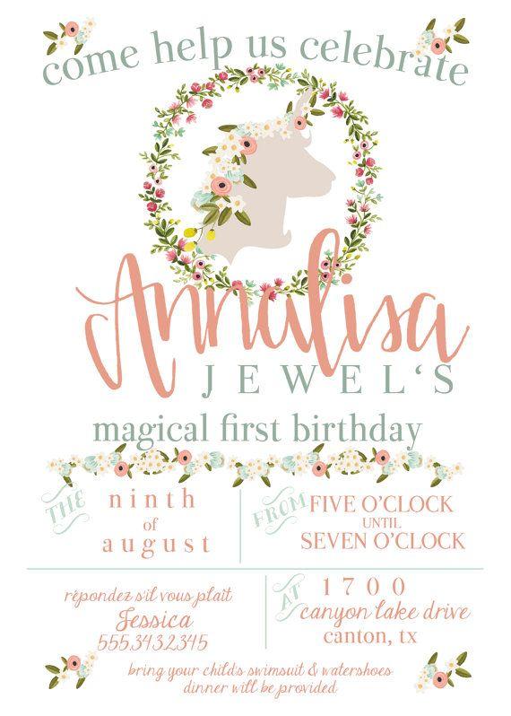 Whimsical unicorn birthday invitation with hand lettered name whimsical unicorn birthday invitation with hand lettered name stopboris Images