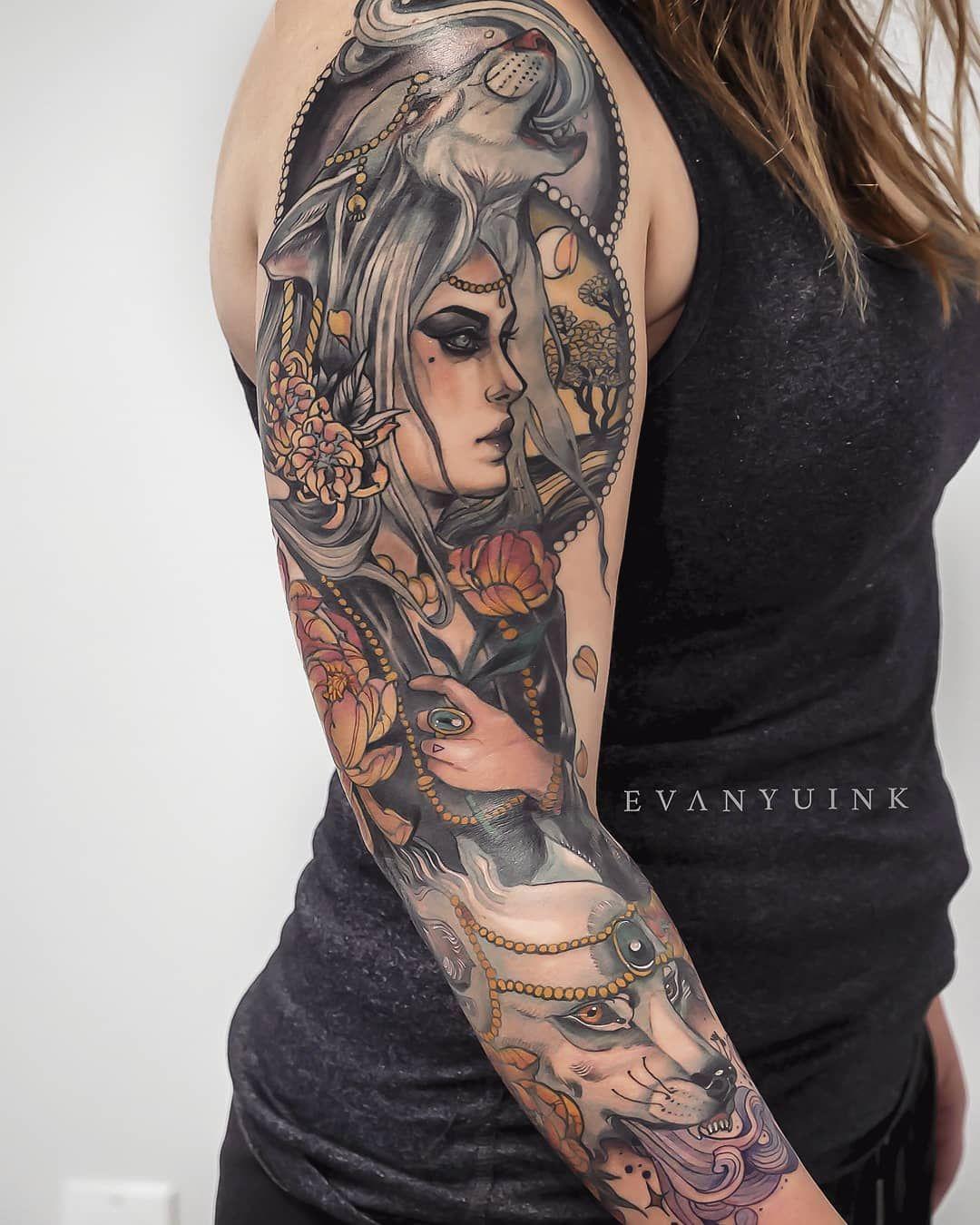 Neo Traditional Spirit Neo Traditional Tattoo Traditional Tattoo Sleeve Tattoos For Women Half Sleeve