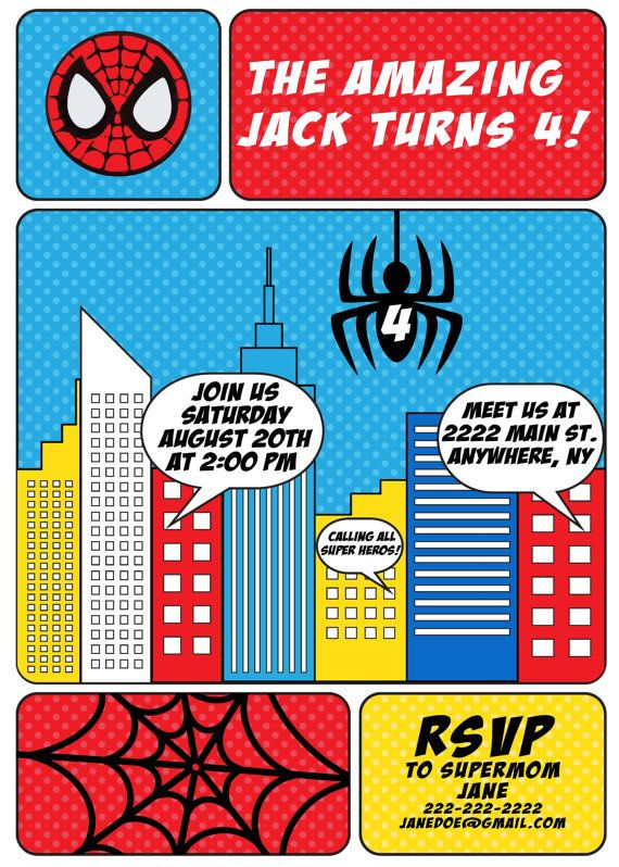 Spiderman Birthday Party Invitation Spiderman Party Theme