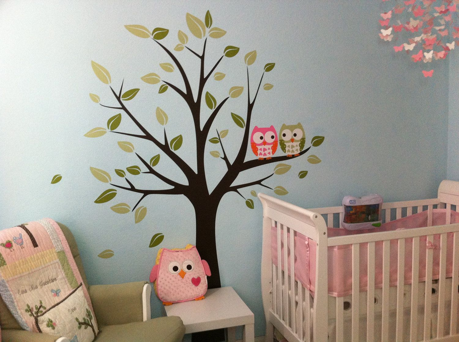 Wall decals owls on a tree baby nursery decals by for Baby nursery tree mural