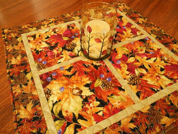 Fall Leaves Quilted Square Table Topper in Elegant by susiquilts