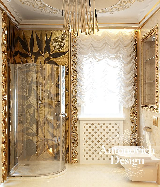 Luxury Home Interiors Bathroom: Gold Of Leaves From Antonovich Design