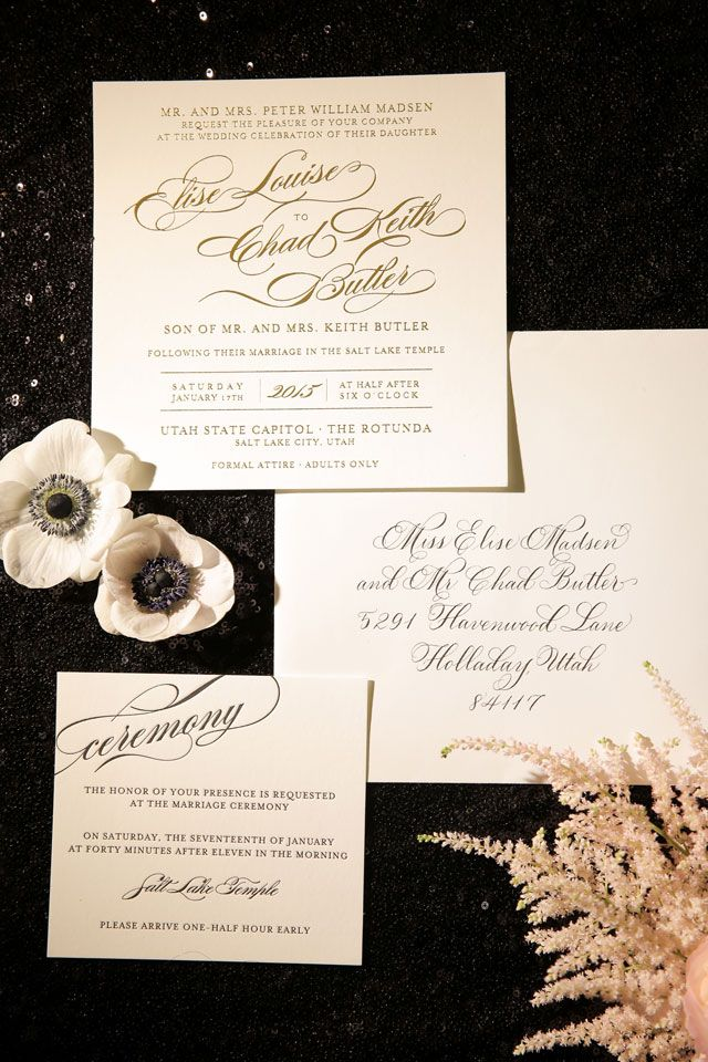 Old Hollywood Metallic Winter Wedding Invitations