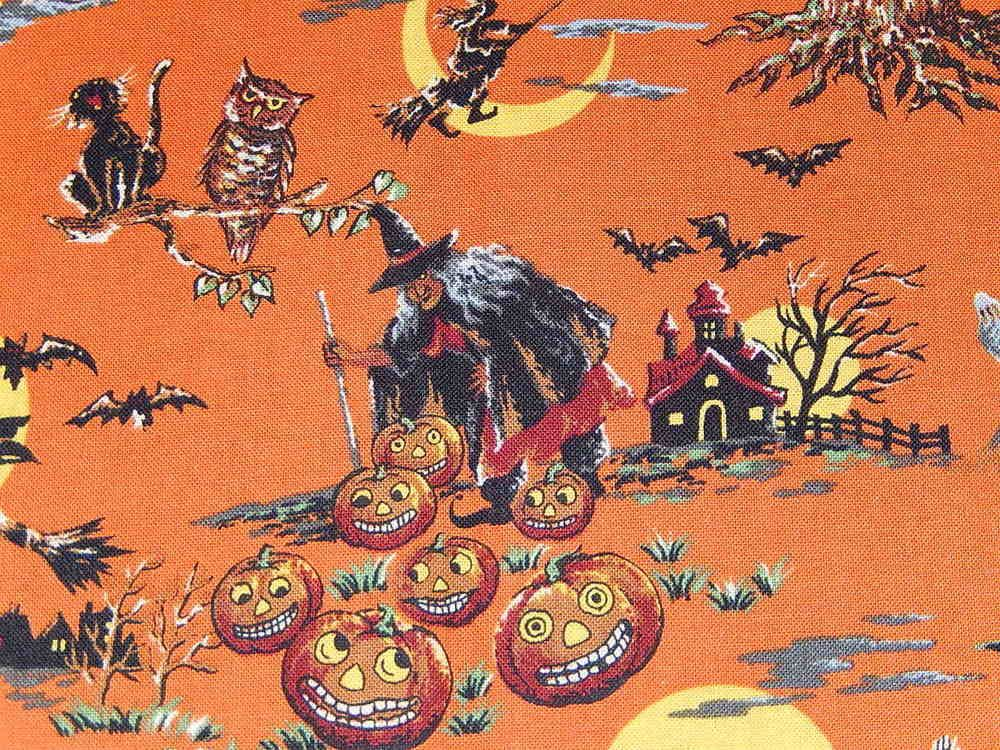 HALLOWEEN WITCHING HOUR RJR Cotton Fabric VINTAGE PUMPKIN WITCH ORANGE OOP HY