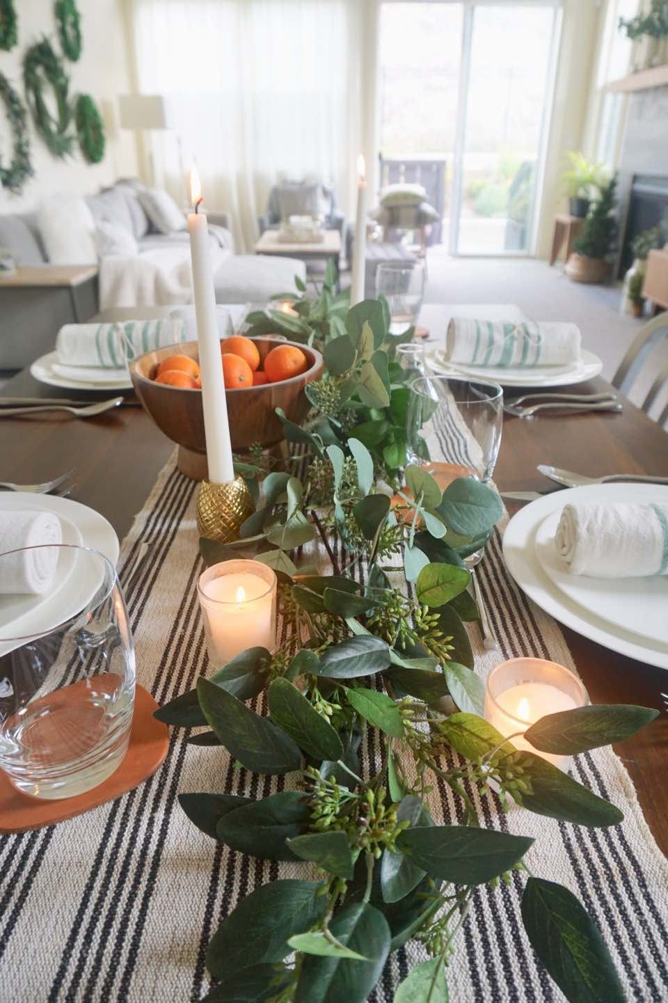 Scandinavian glam holiday simple modern dining table - Modern christmas table settings ideas ...