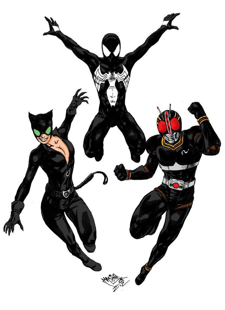 Cat woman,Spiderman & Kamen Rider Black