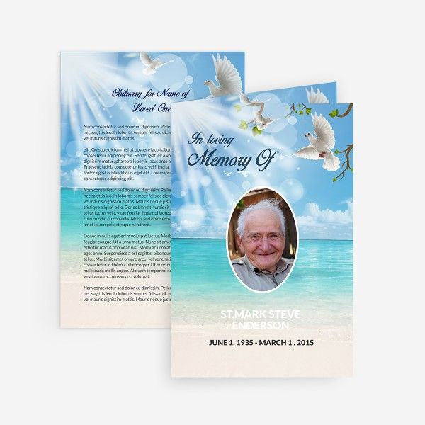 Dove Printable Funeral Card For Microsoft Word  Memorial Card Template Word