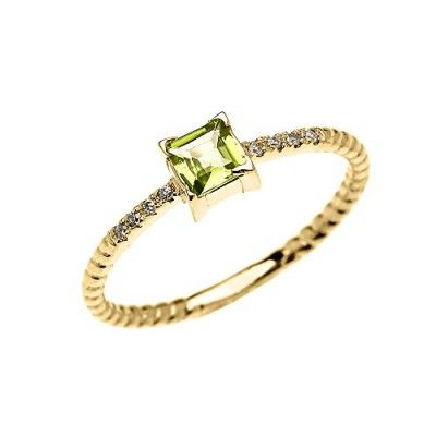14k Yellow Gold Diamond and Princess Cut Solitaire Peridot Dainty Promise/Engagement Ring(Size 4)