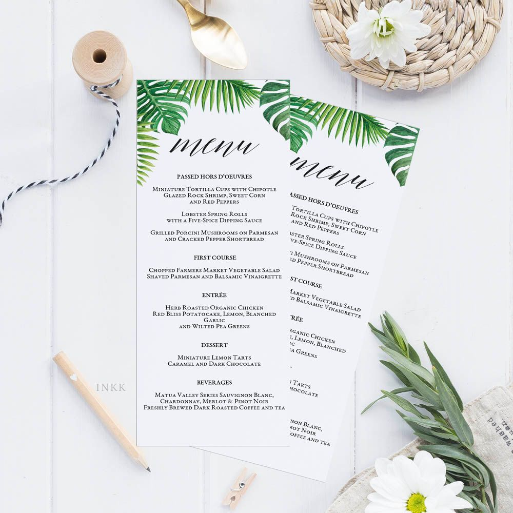 Tropical Printable Wedding Menu Template, Kraft Menu Cards, Menu ...