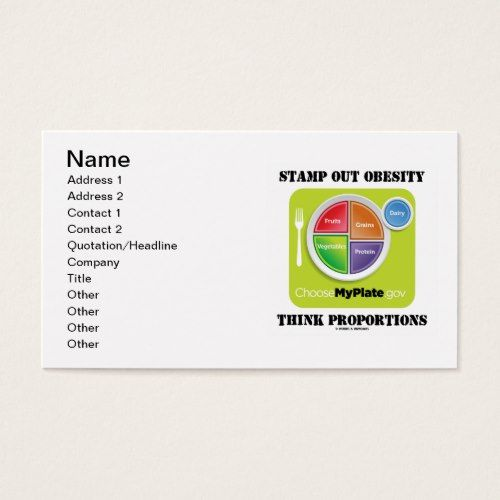 Stamp Out Obesity Think Proportions Myplate Business Card