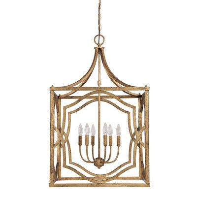 Capital Lighting Blakely 6 Light Foyer Pendant Finish: Antique Gold