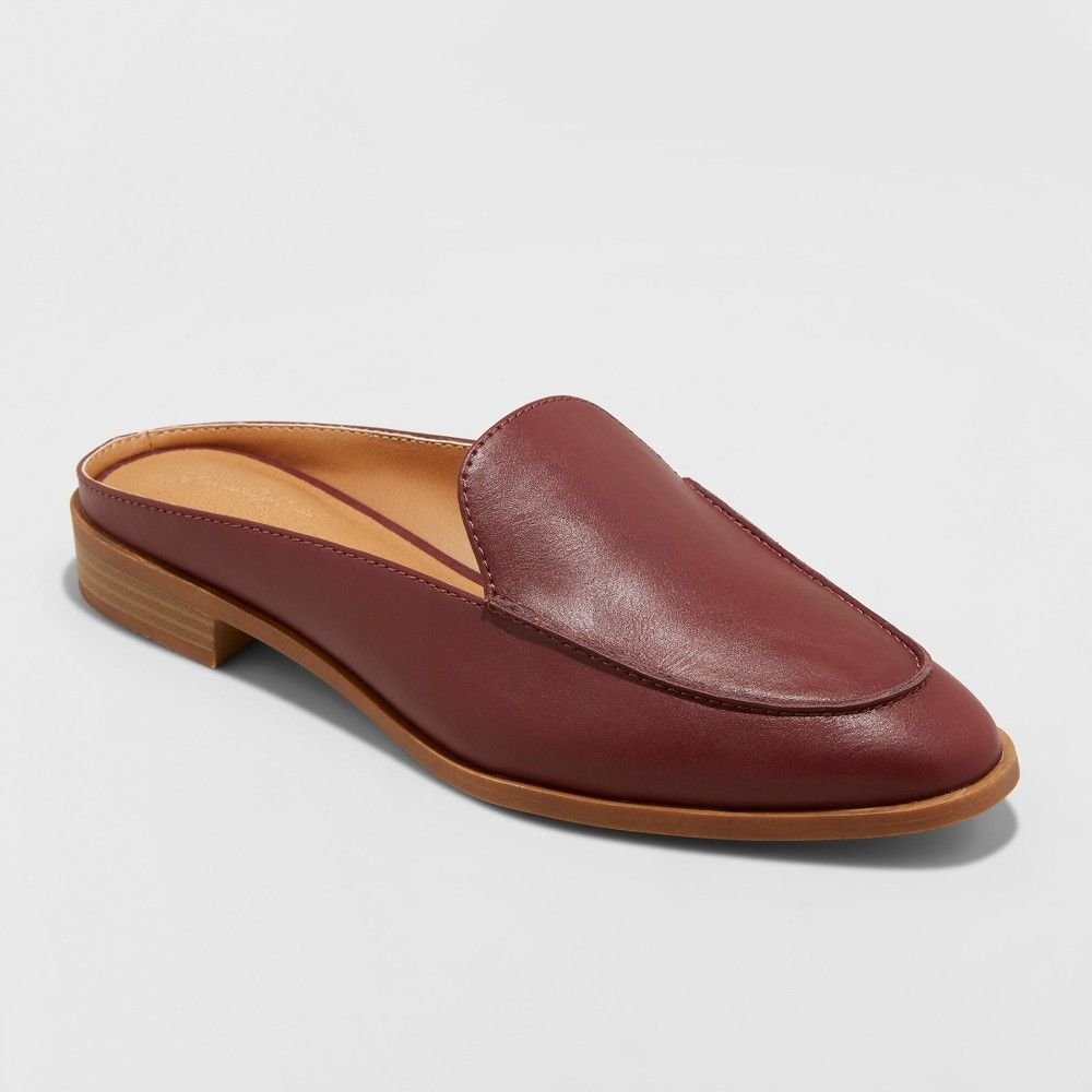 cddb960c61c Women s Amber Wide Width Backless Loafer Mules - Universal Thread Burgundy  (Red) 7.5W