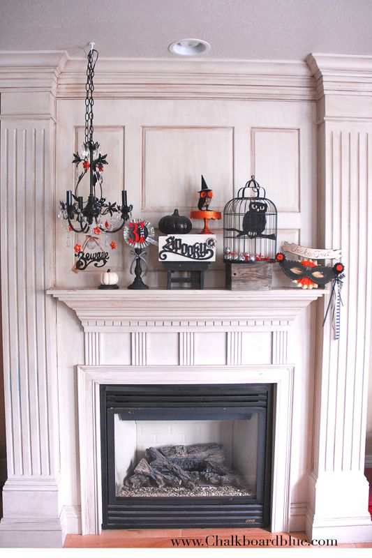 How to Incorporate a Chandelier into your Halloween Mantel