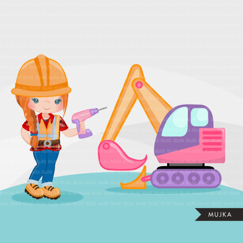 Construction Clipart, Little girl contractor, hard hat