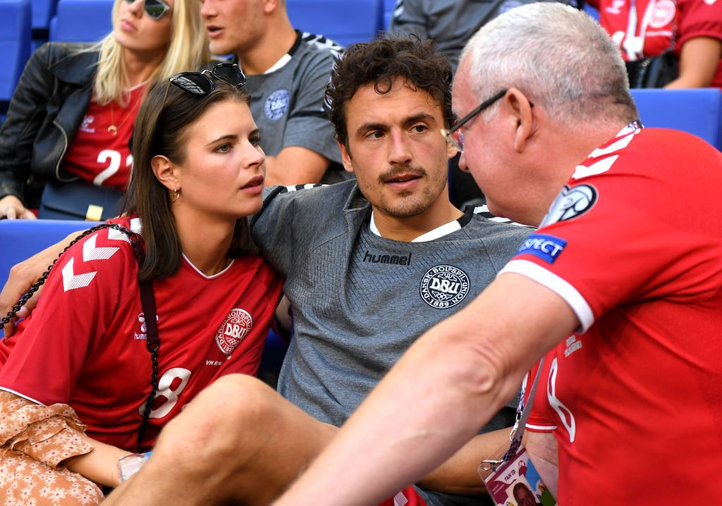 Samara Russia June 21 Thomas Delaney Of Denmark Is Seen With His Partner Michelle Lindeman Jensen Following The 2018 Fifa World Cup Rus Fifa Samara Rússia