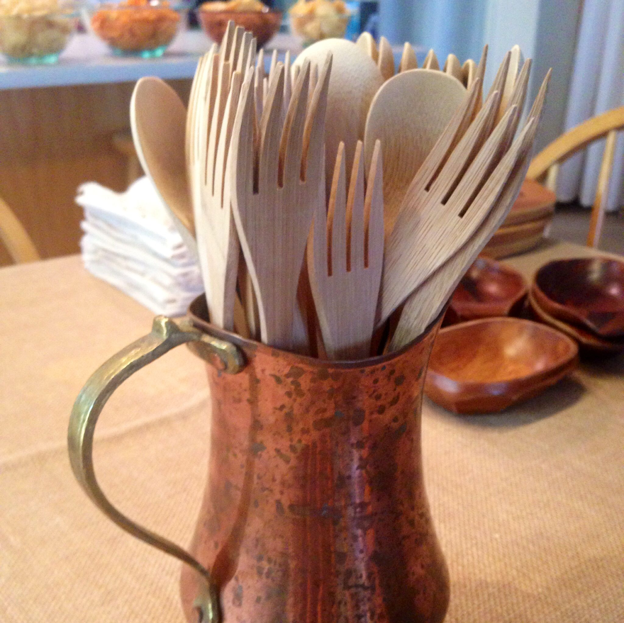 Wooden cutlery from Party City.