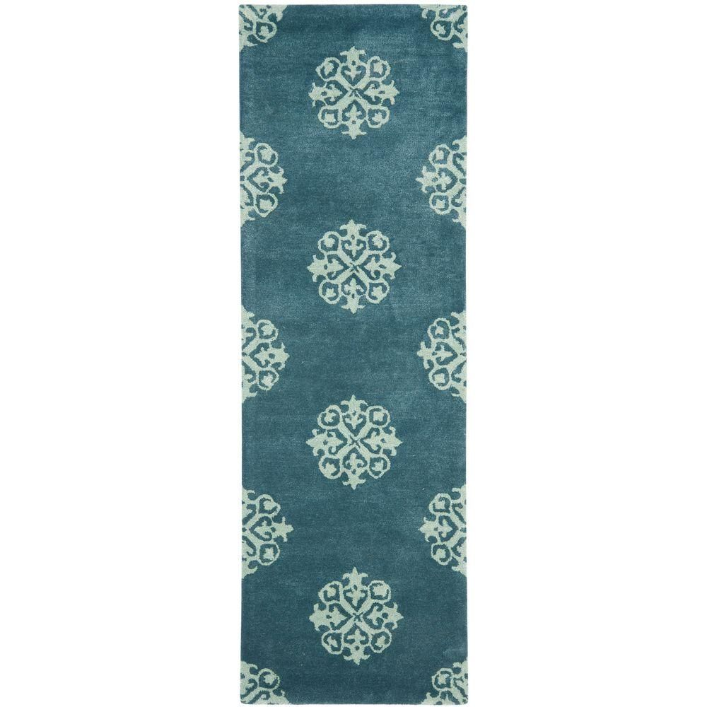Safavieh Soho Blue 2 Ft 6 In X 12 Ft Rug Runner Geometric Area Rug Light Blue Area Rug Blue Area Rugs