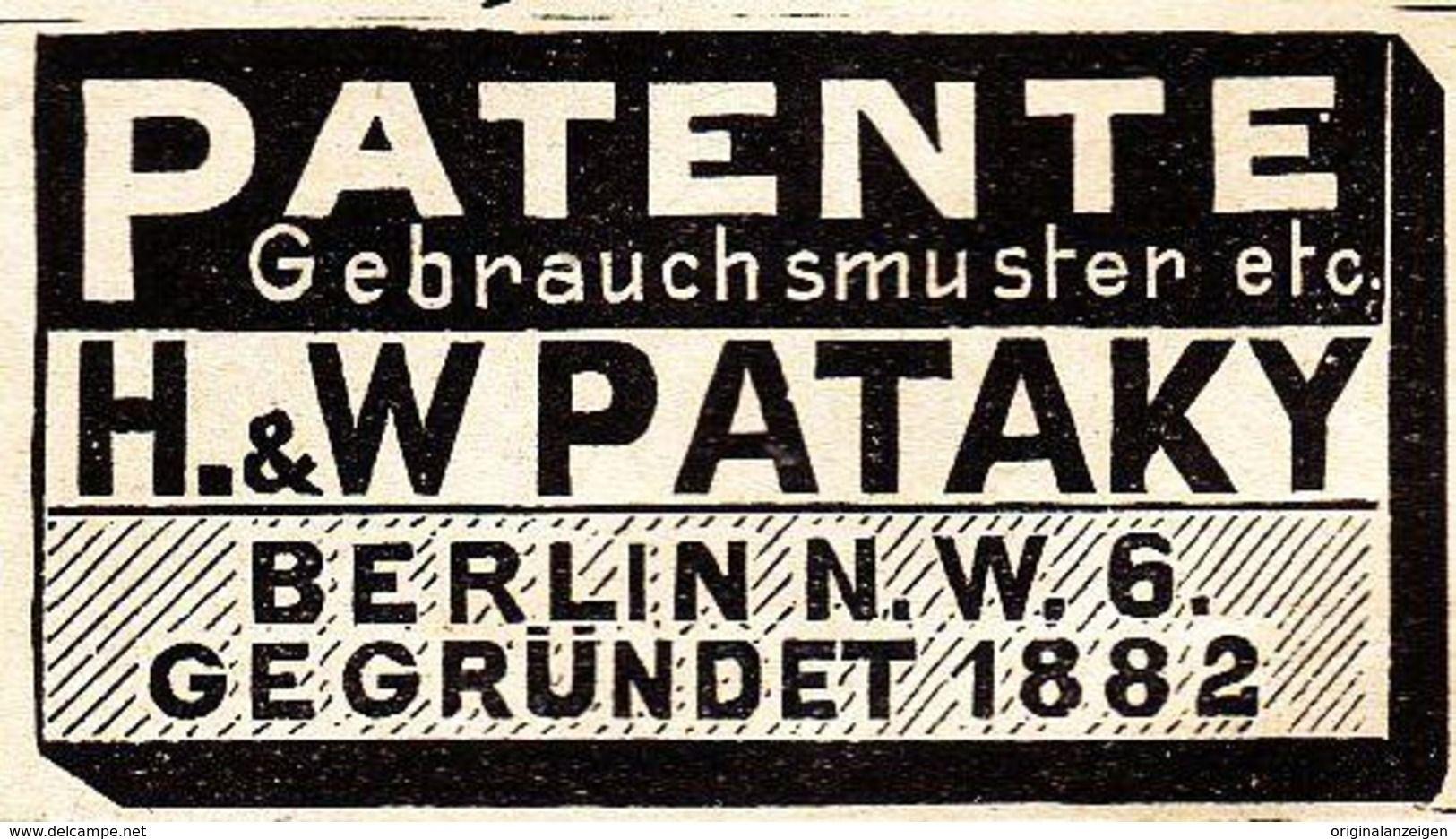 OriginalWerbung/ Anzeige 1901 PATENTE PATAKY BERLIN