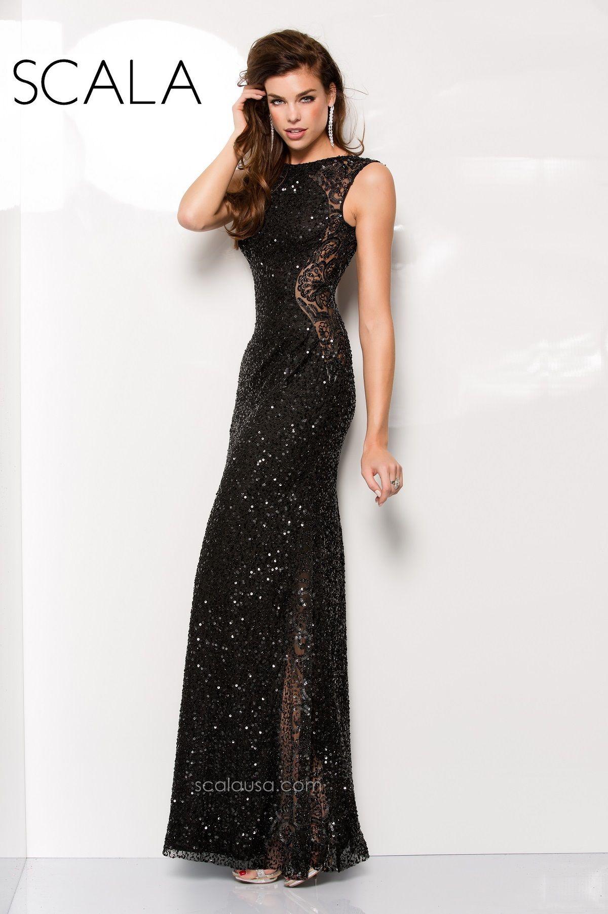 Scala style black promk spring prom dress