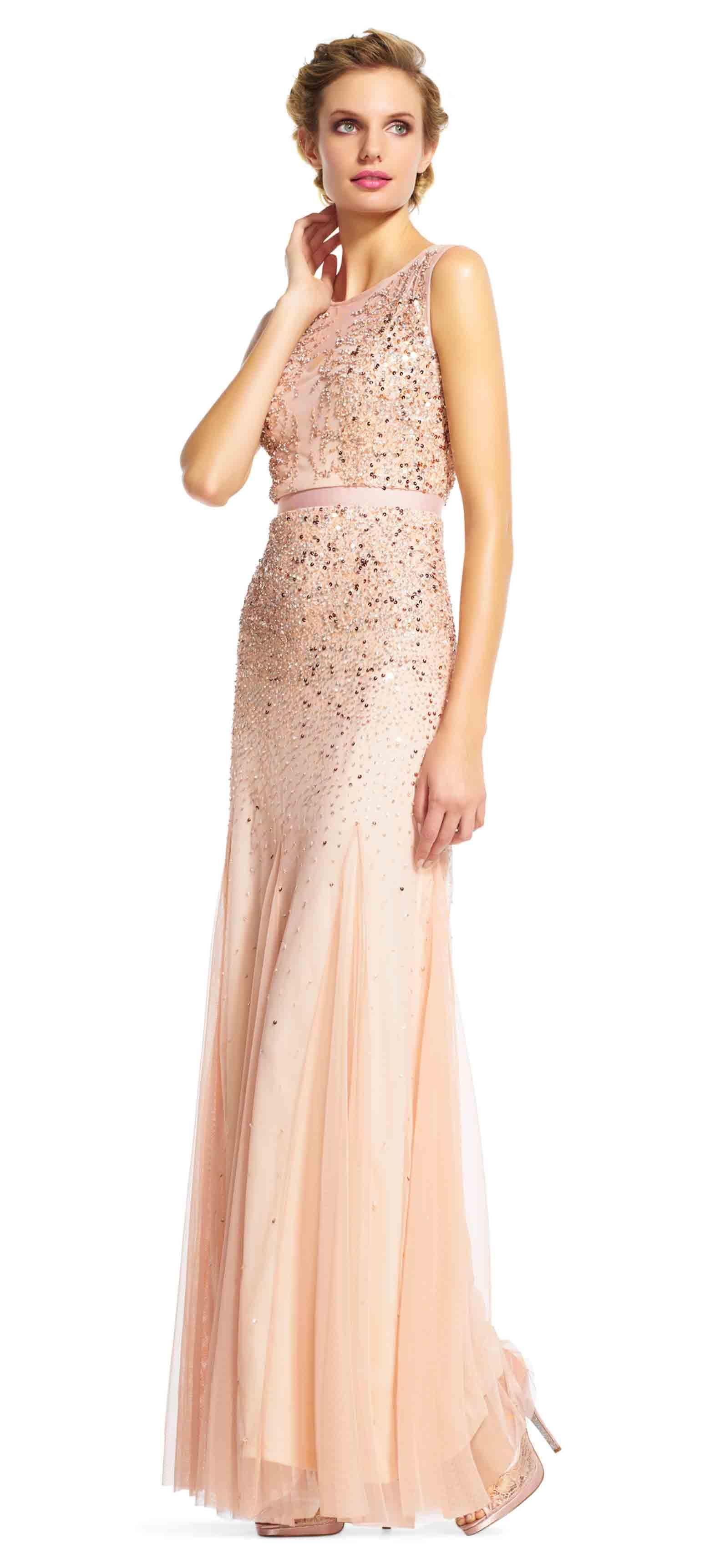Blush Beaded Gown with Illusion Neck Formal Dress | Wedding ...