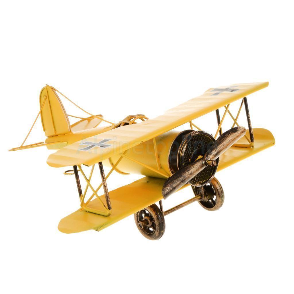 3x Handicraft Vintage Retro Metal Iron Biplane Model Aircraft Toy Decor Kid Gift