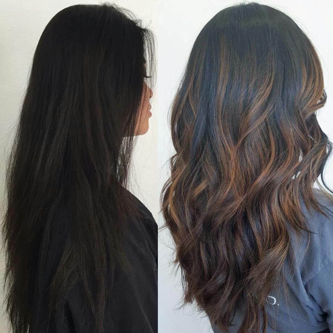 Before & After: Subtle Brown Balayage Highlights on Black ...