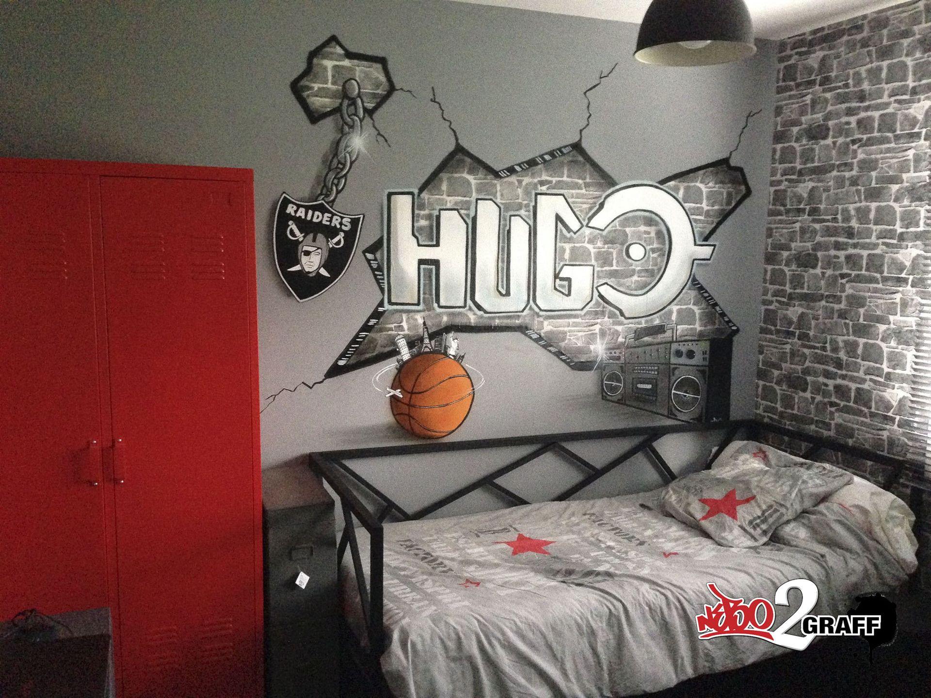Peinture graffiti décoration personnalisé chambre d\'enfant graff ...