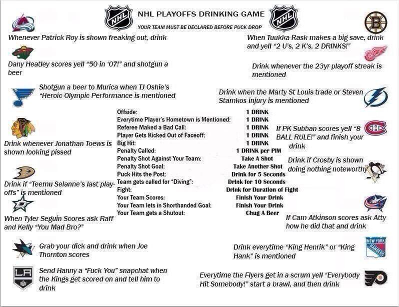 Nhl Drinking Game Drinking Games Nhl Playoffs Hockey