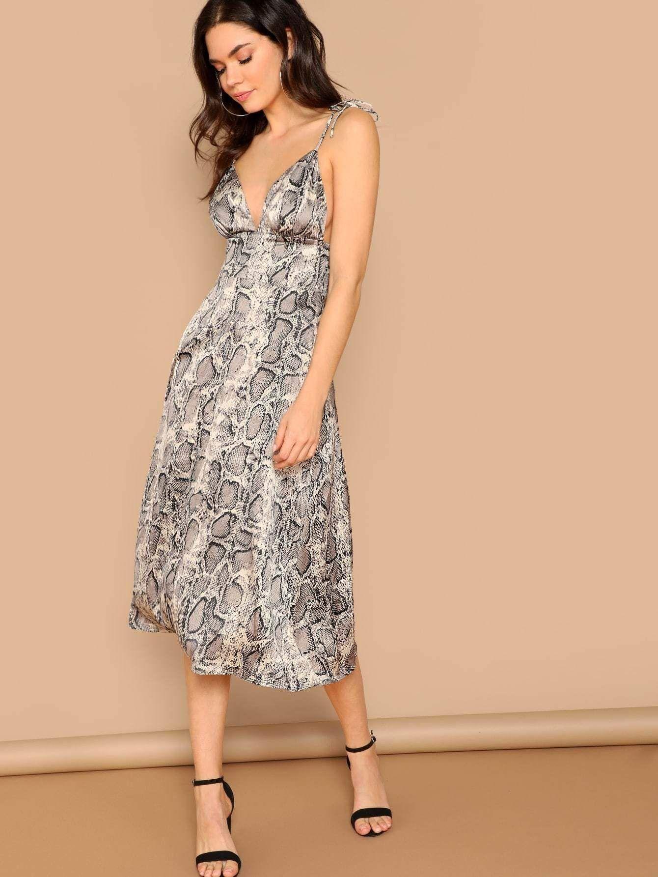 de5ee65f347f Deep V Neck Snakeskin Slip Going Out Midi Dress - Popviva #summer #year  #fall #spring #season #winter #daylight #summertime #vacations #holiday  #autumn ...