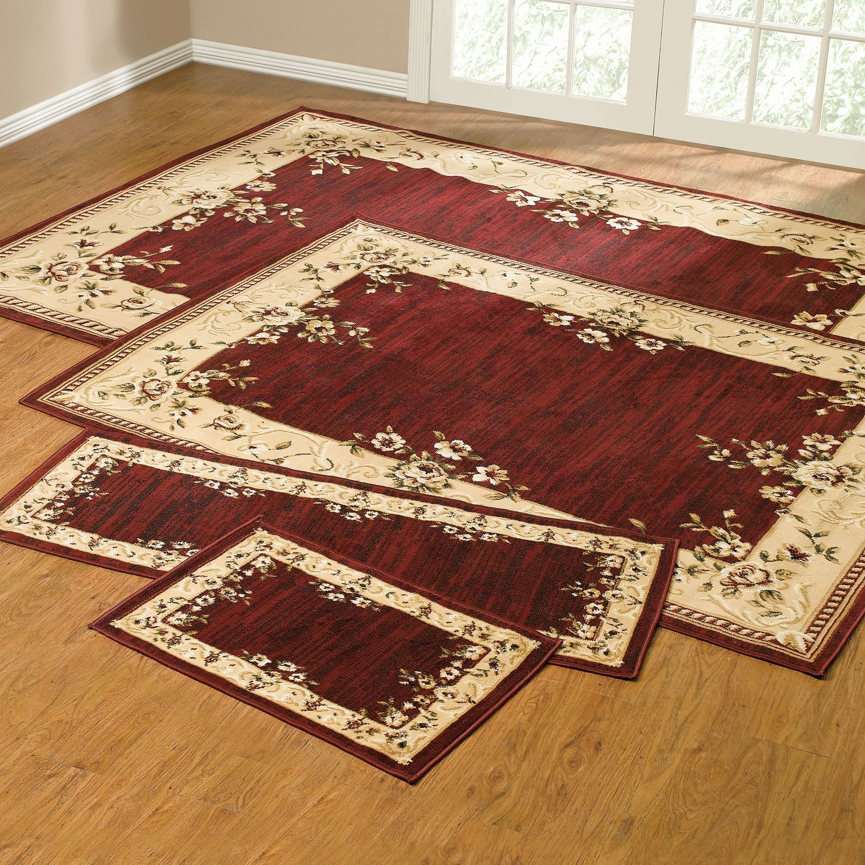Rose Border 4 Pc Rug Set Shopswell Area Rugs Cheap Rug Sets