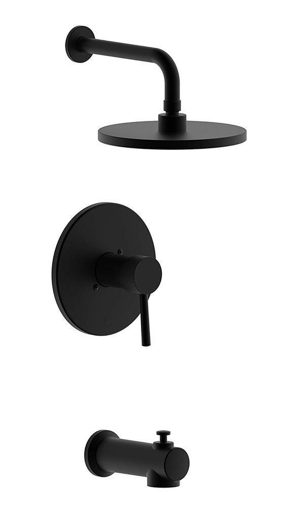 194 Single Handle Tub Shower Faucet Kit Matte Black Edison