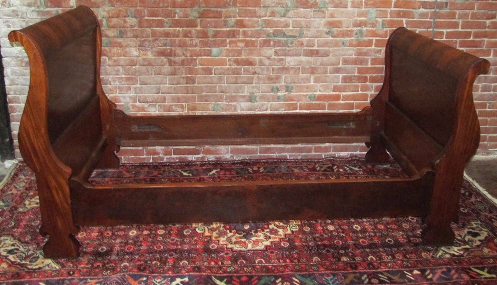 Antique Empire Sleigh Bed In Solid Mahogany Circa 1830 Ebay Sleigh Beds Solid Mahogany Antique Beds