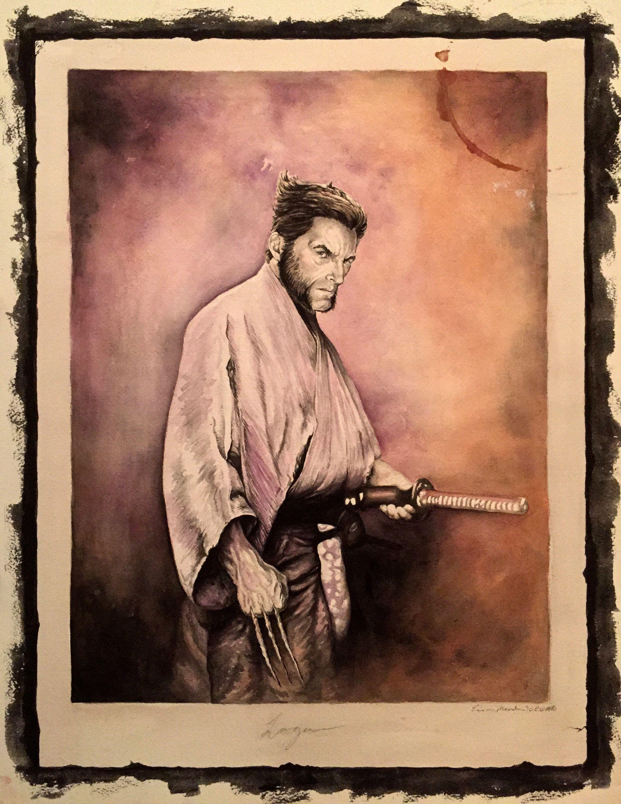 Samurai Logan by Eric Meador 13 x 18 watercolor | Wolverine | Pinterest
