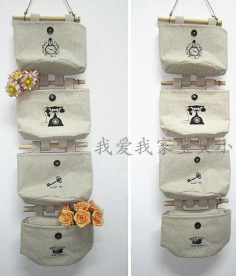 Free shipping cotton and linen fabric wall hanging waterproof storage bag 4 pockets/lot $13.50 & Free shipping cotton and linen fabric wall hanging waterproof ...