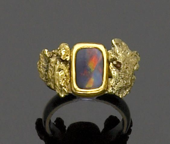 222d83ca31554 Black Opal and Gold Nugget Ring   gold ring ideas   Black opal, Opal ...