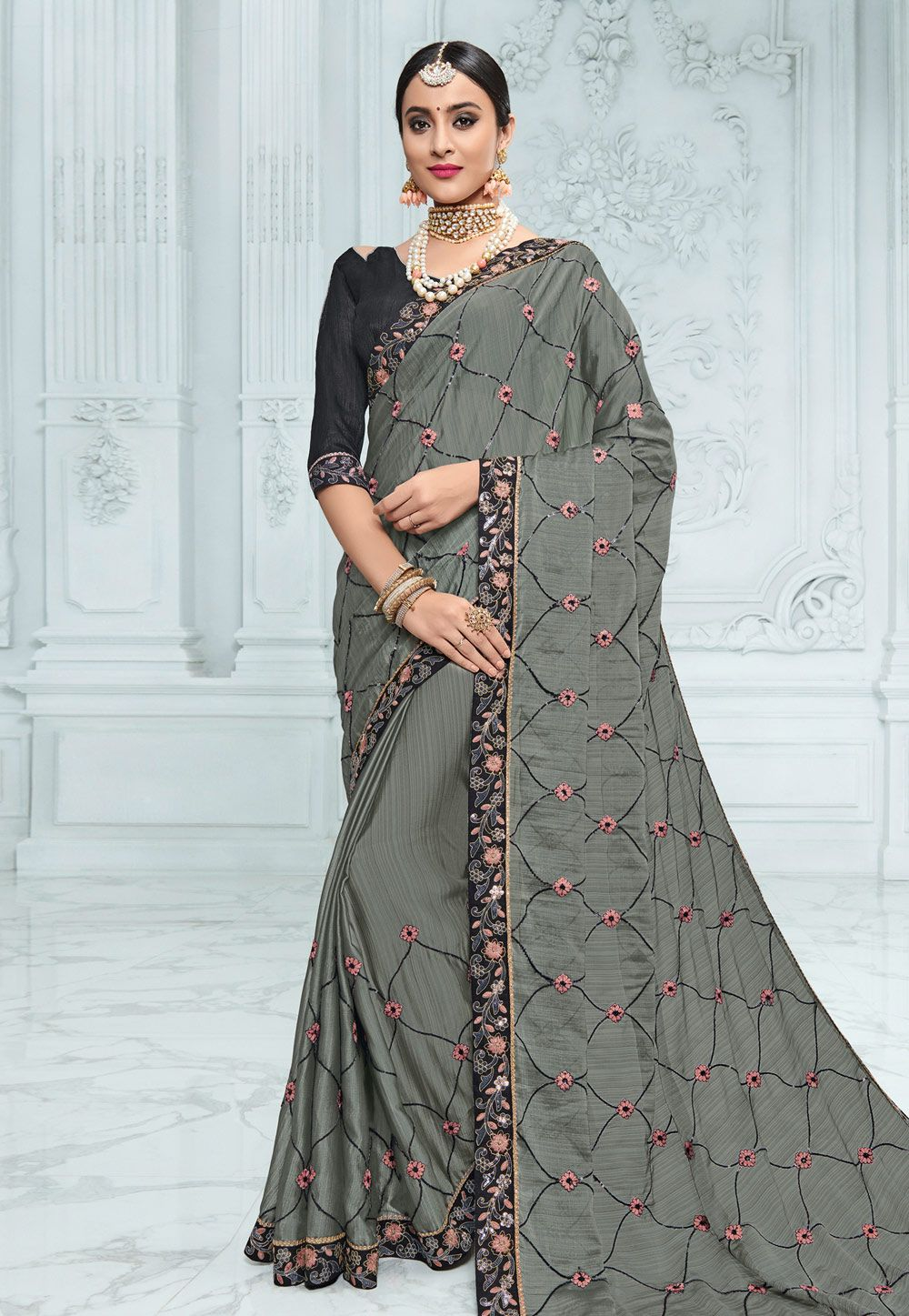 a42b7d915e4a51 Buy Gray Chiffon Festival Wear Saree 155508 with blouse online at lowest  price from vast collection of sarees at Indianclothstore.com.