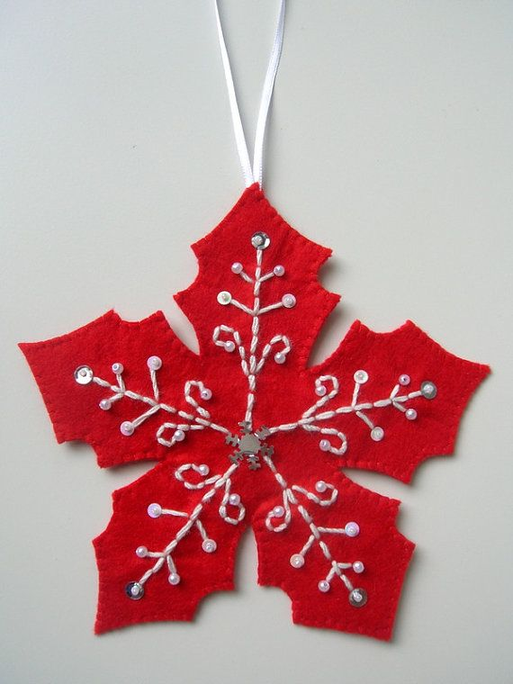 Ornamento del árbol de Navidad fieltro bordado por Lilamina en Etsy