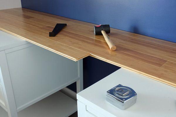 Diy Custom Bamboo Countertop Bamboo Countertop Desk Makeover Diy Diy Countertops