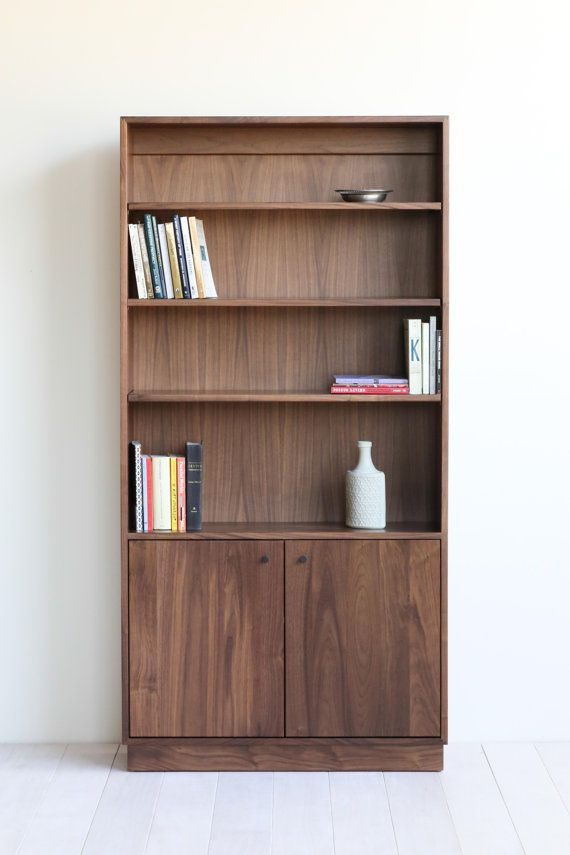 Walnut Bookshelves With Cabinet Storage 36w X 12d 74h 3 Adjule Shelves In Open E And 1 Shelf Behind