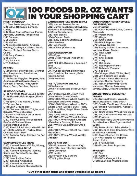 Dr Oz Shopping List  Healthy Healthy Healthy