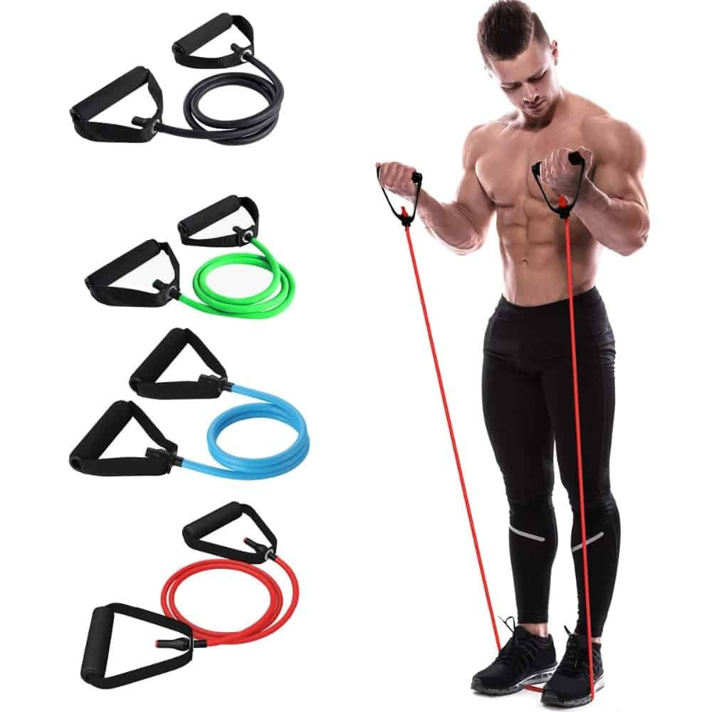 Details about  /Fitness Resistance bands set with door anchor /& 11 Pcs Unisex workout items