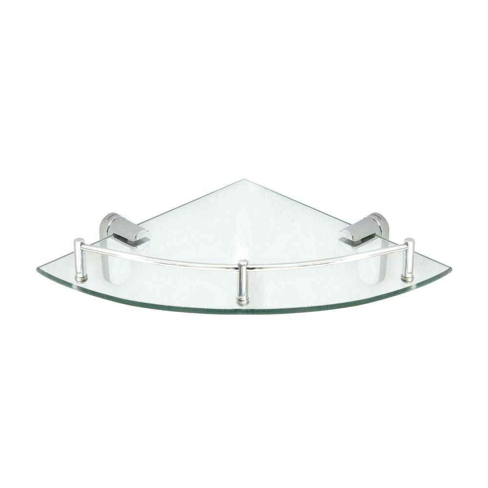 Modona Oval 10 5 In X 10 5 In Glass Corner Shelf With Pre Installed Rail In Polished Chrome 7713 Pc The Home Depot In 2020 Glass Corner Shelves Corner Shelves Glass Shower Shelves